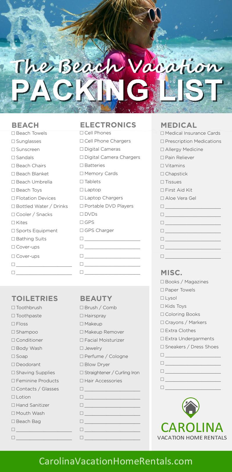 Vacation Checklist | Beach Vacation Checklist Carolina Vacation Home Rentals
